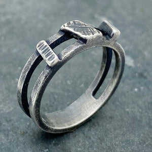 Asymmetrical Bars: Sterling Silver Ring