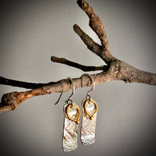 Load image into Gallery viewer, Gilded: Loop/Woven Rectangle Layered Drop Earrings