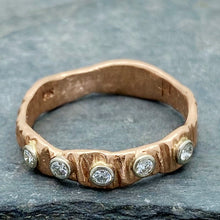 Load image into Gallery viewer, Textured Bark: Five-Diamond Rose Gold Ring