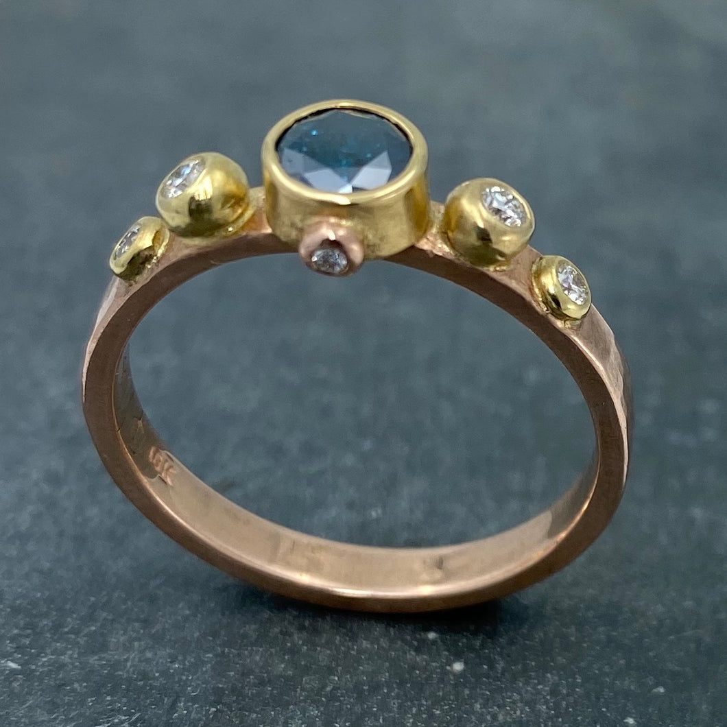 Contemporary Classical: Blue and White Diamonds Rose Gold Ring