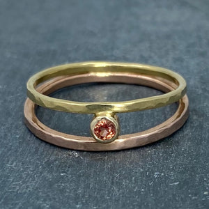 Parallel Universe: Padparadscha Sapphire and Yellow/Rose Gold Ring