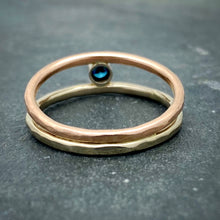 Load image into Gallery viewer, Parallel Universe: Blue Diamond and White/Rose Gold Ring
