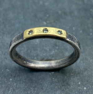 Modern Simplicity: Olive Green Diamonds and Sterling Silver Ring