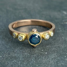 Load image into Gallery viewer, Contemporary Classical: Blue and White Diamonds Rose Gold Ring