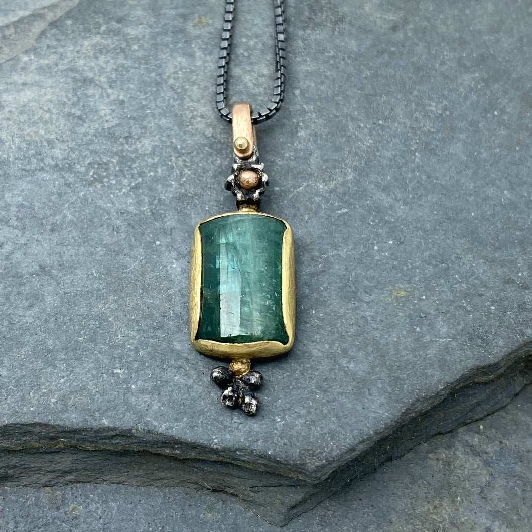 Natural Wonder: Green Tourmaline Flower Bud Necklace