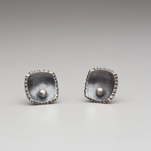 Forged: Curved/Woven Square Stud Earrings