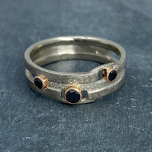Load image into Gallery viewer, Geometry Perfected: Black Diamonds and Palladium White Gold Ring