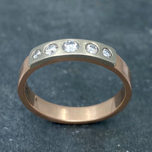 Load image into Gallery viewer, Modern Simplicity: Five-Diamond Rose Gold Ring