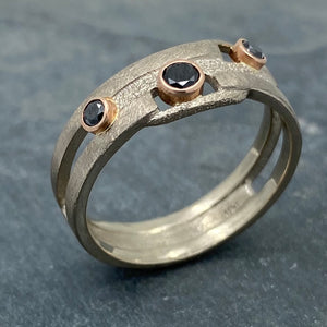 Geometry Perfected: Black Diamonds and Palladium White Gold Ring