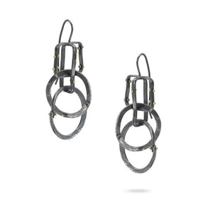 Forged: Geometric Rivet Drop Earrings
