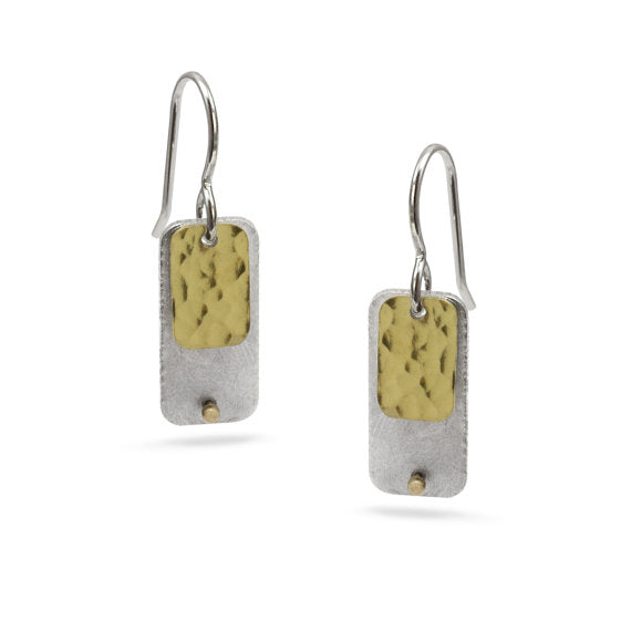 Gilded: Rivet/Double Rectangle Layered Drop Earrings