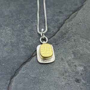 Gilded: Raised Rectangular Cube Necklace