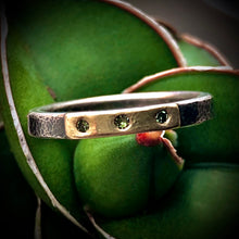 Load image into Gallery viewer, Modern Simplicity: Olive Green Diamonds and Sterling Silver Ring