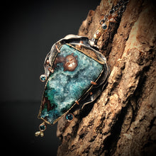 Load image into Gallery viewer, Natural Wonder: Angular Chrysocolla and Malachite Druzy Necklace