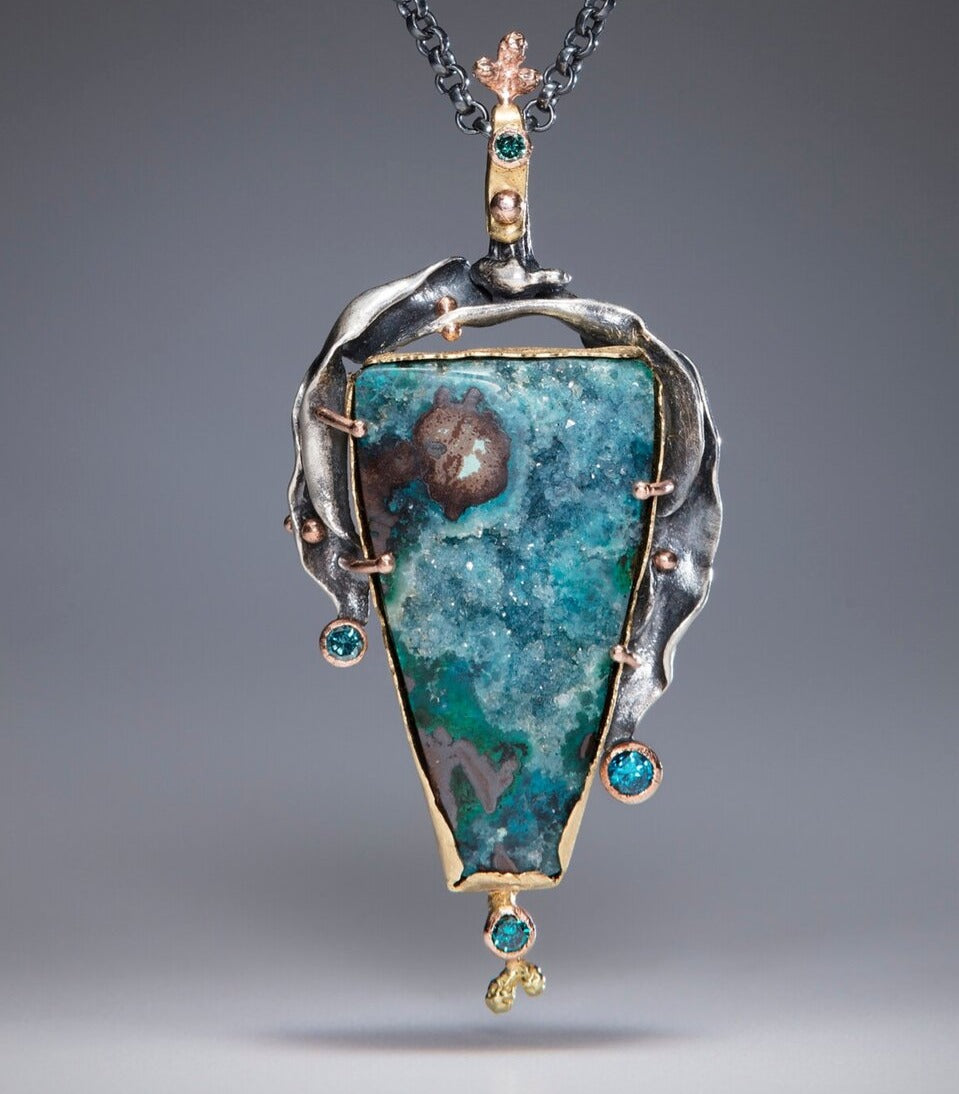 Natural Wonder: Angular Chrysocolla and Malachite Druzy Necklace
