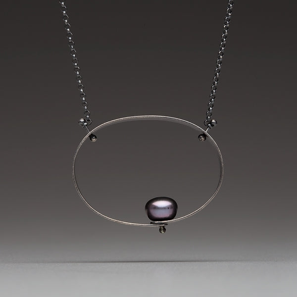 Sea Level: Circular Perch/Black Pearl Necklace