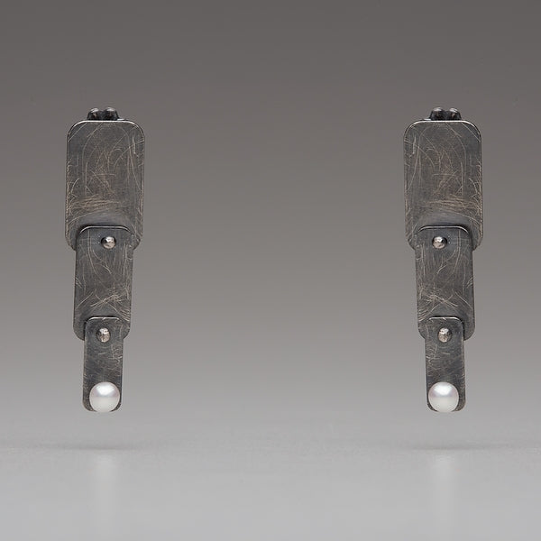 Sea Level: Riveted Ladder/White Pearl Post Earrings
