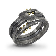 Load image into Gallery viewer, Pavement Layers: Sterling Silver and Yellow Gold Rivets Ring