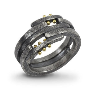 Pavement Layers: Sterling Silver and Yellow Gold Rivets Ring