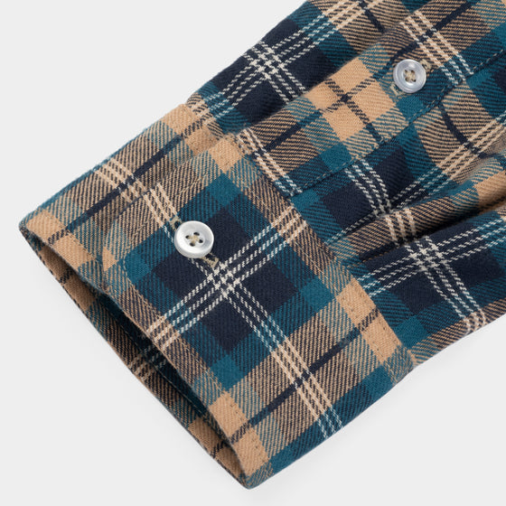 Gino Twill Flannel Plaid - Turquoise/Tan