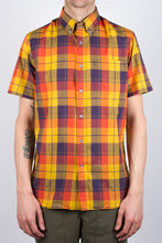 Gino S/S Linen Mix Plaid - Yellow/Purple