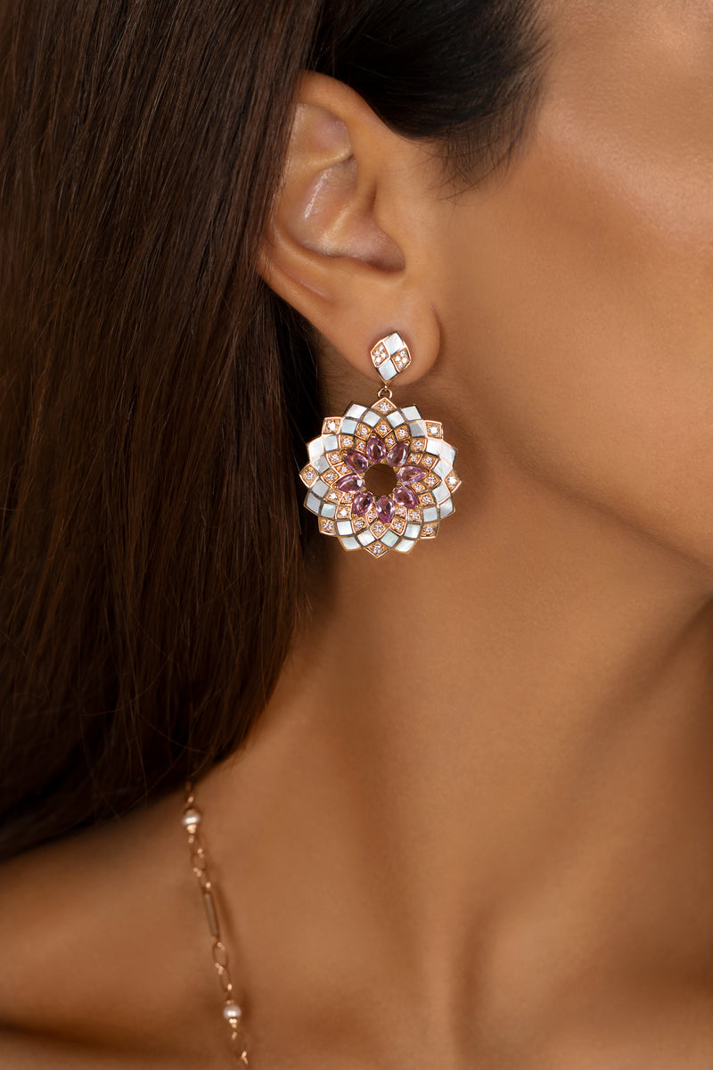 GEOMATICA LARGE EARRINGS IN PINK SAPPHIRE