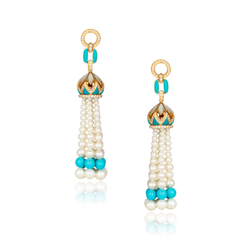 ROYAL TASSEL EARRING IN TURQUOISE