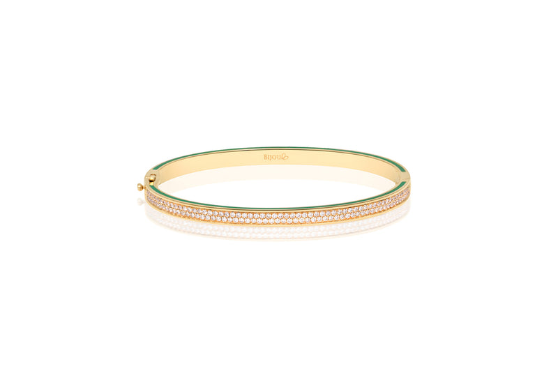 BRIGHT LIGHTNING BANGLE IN DIAMOND AND GREEN ENAMEL