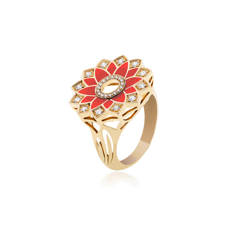 GEOMATRICA SMALL RING IN RED CORAL