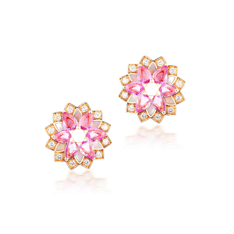 GEOMATRICA SMALL EARRINGS IN PINK SAPPHIRE AND MOTHER OF PEARL