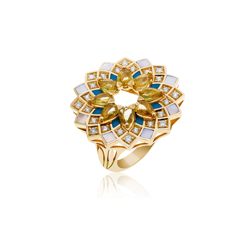 GEOMATRICA LARGE RING IN TURQUOISE AND YELLOW SAPPHIRE