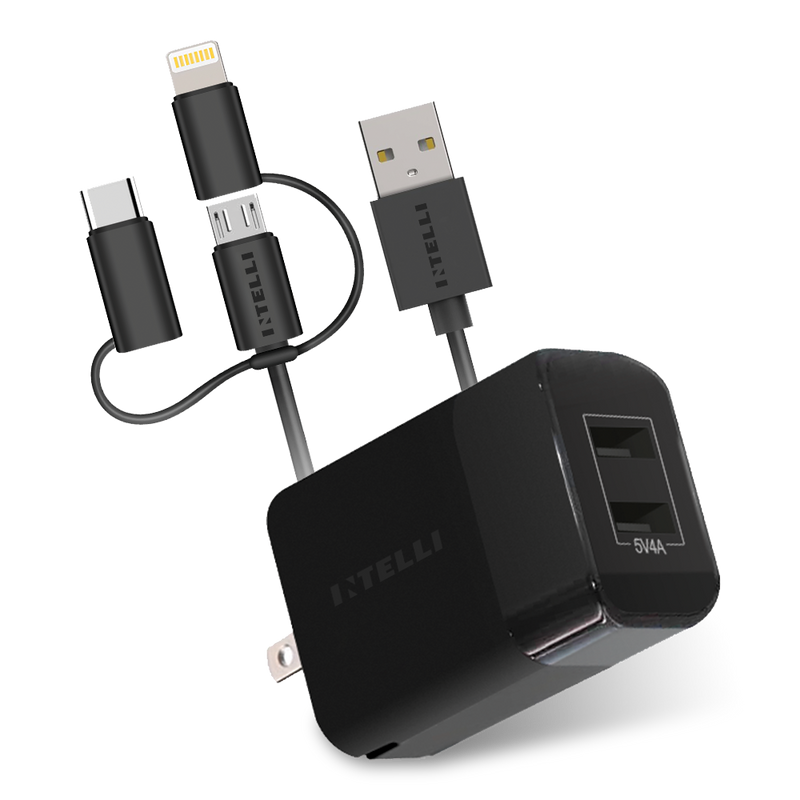 Dual USB Port Wall Charger PLUS 3-in-1 Charging Cable