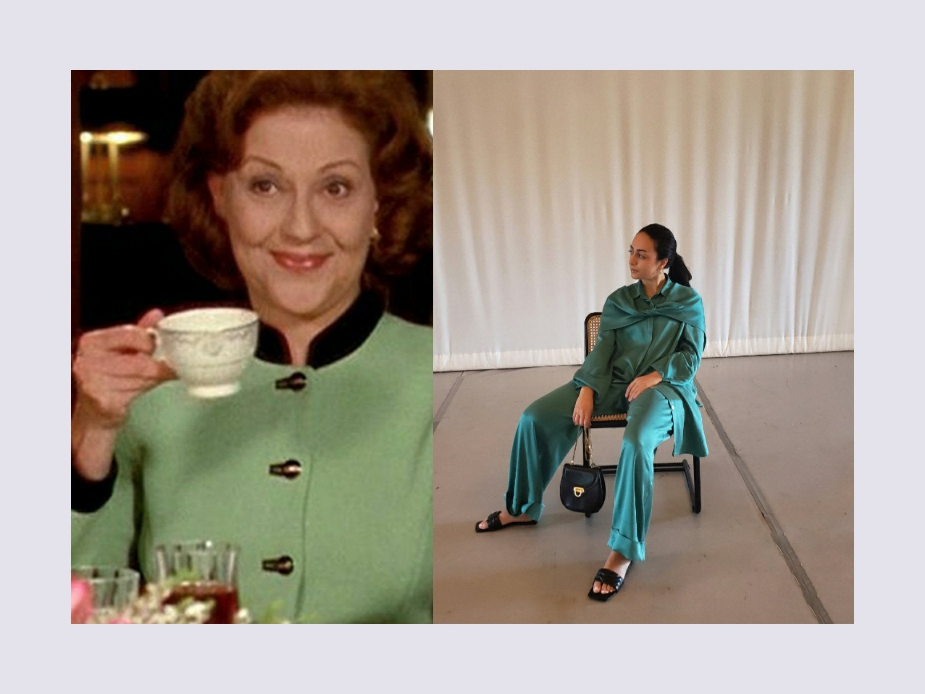 Emily gilmore from Gilmore Girls fashion. Curvy Muslim woman in designer clothing. Modest long sleeve silk top with buttons on matching wide leg green silk pants with black leather purse and black leather sandals.