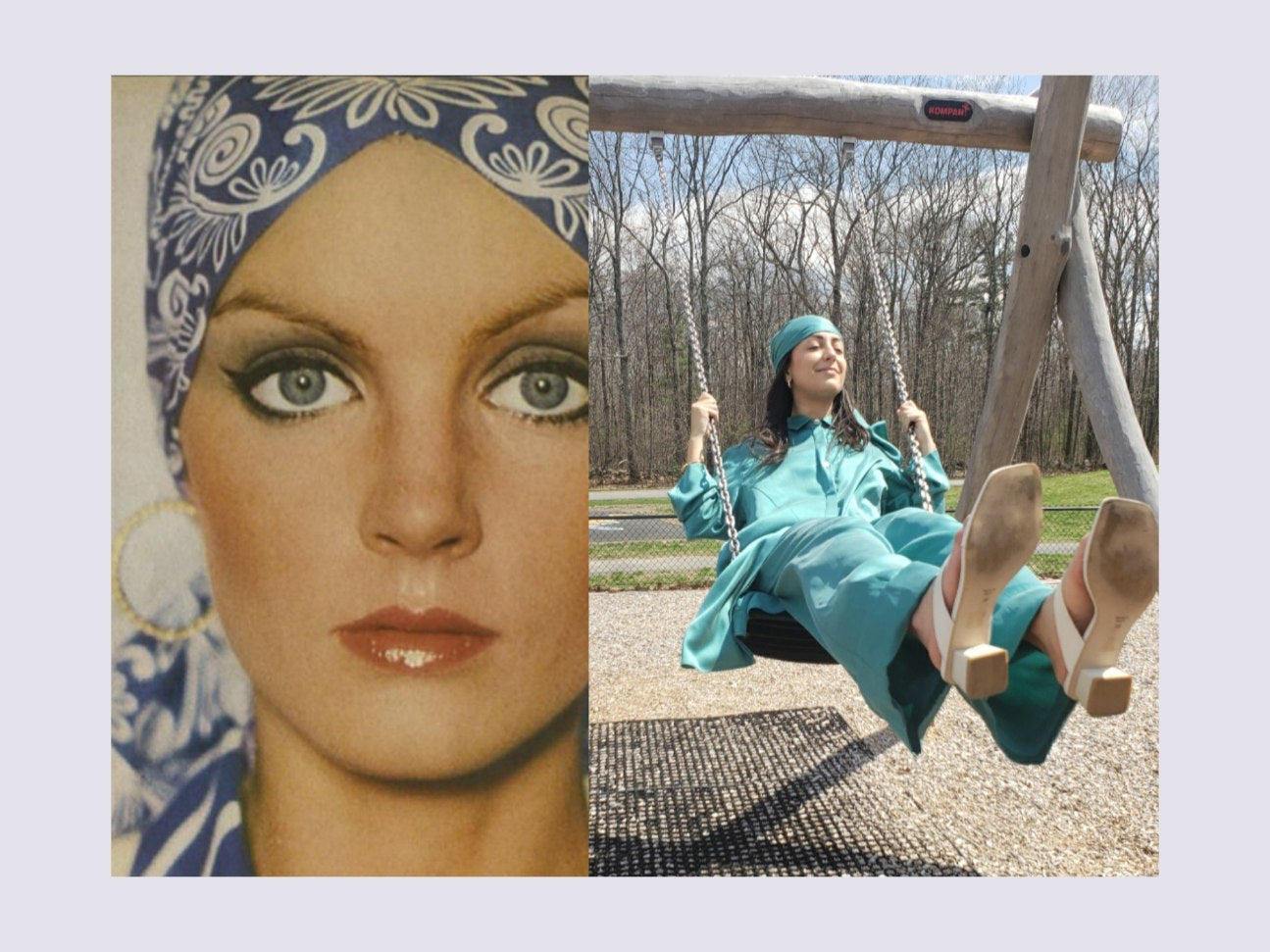 Twiggy makeup. Cher style. 70s style fashion with headscarf. Green silk beachy headscarf for women.