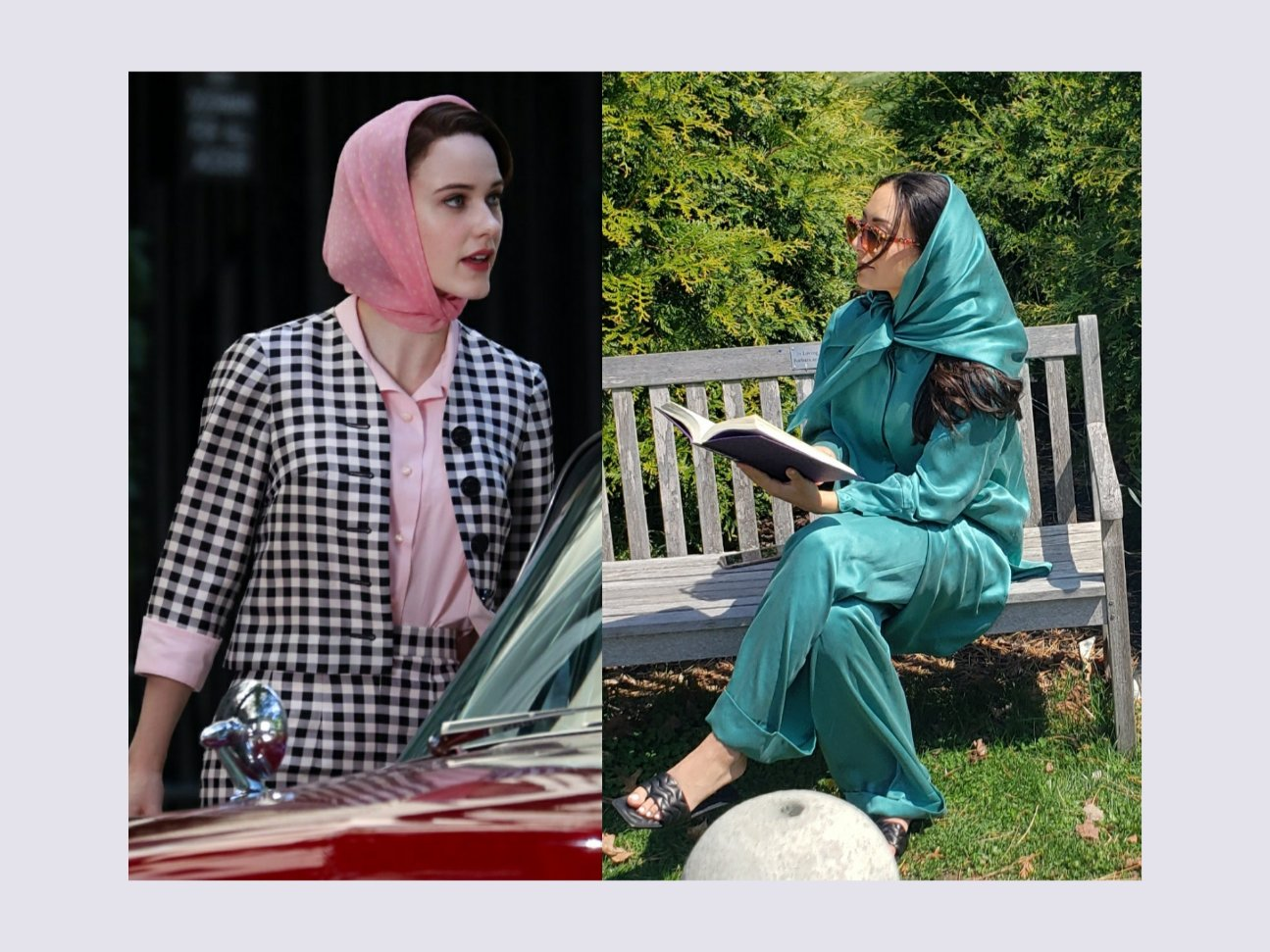 Midge Maisel from The Marvelous Mrs. Maisel fashion. Woman in old vintage fashion wearing 60s silk headscarf to protect hair.