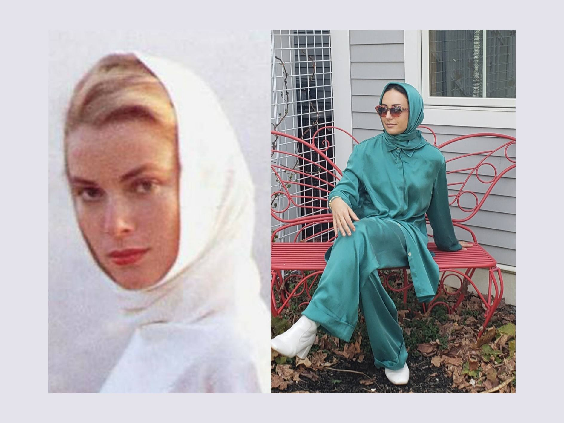 Grace Kelly fashion from the fifties. Fashion icon Grace Kelly in vintage silk headscarf. Hijabi woman in stylish modest outfit for women.