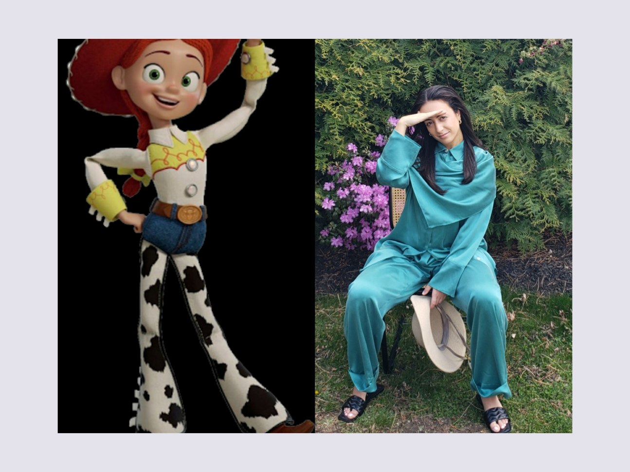 Jess from Toy Story in woman's western clothing. Western hat for women and slouchy cowgirl boots.