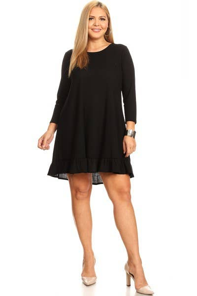 Dainty Ruffle Hem Dress - Plus Size