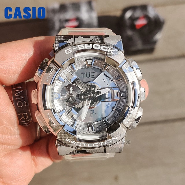 Casio watch men g shock 2021 new product transparent snow camouflage sport Double display digital watch