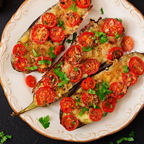 stuffed eggplant parmesan with wine