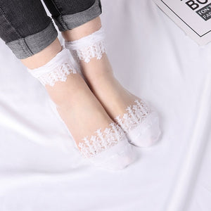 5 Pair of Ultra-thin silk stretch lace short socks