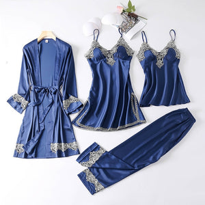 Soft and Sexy 4 Pieces Women Pajamas - Blue