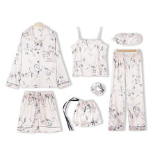 Load image into Gallery viewer, Blue with Kisses 7 Pieces Silk Pajamas Set
