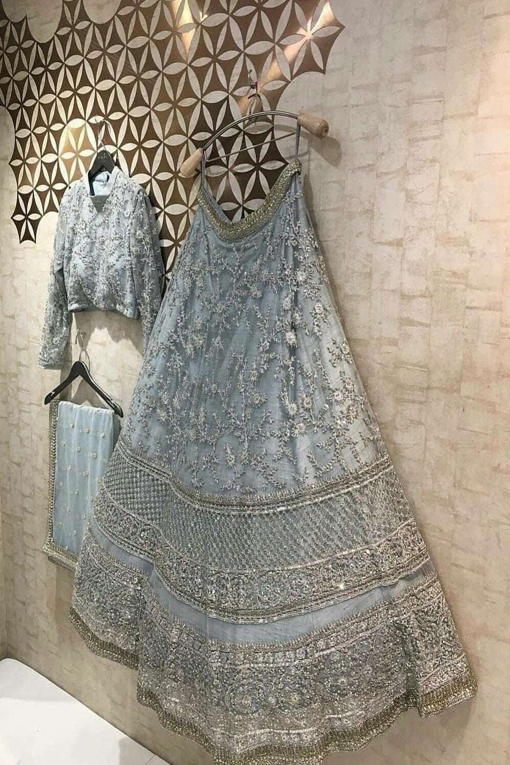 Grey Embroidered Attractive Party Wear Lehenga
