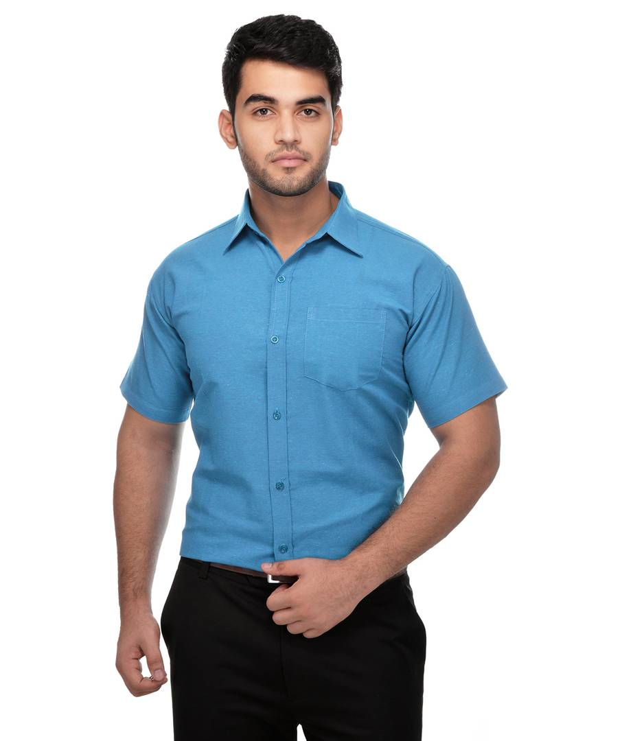 Blue Cotton Solid Regular Fit Formal Shirt