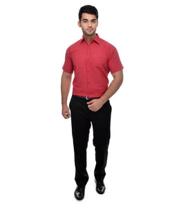 Red Cotton Solid Regular Fit Formal Shirt
