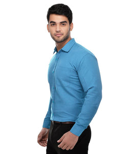 Blue Cotton Regular Fit Formal Shirt
