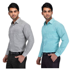 BUY 1 GET 1 FREE Multicoloured Khadi Solid Long Sleeve Formal Shirt