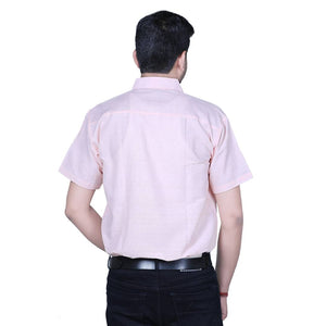 Peach Cotton Solid Short Sleeve Formal Shirt