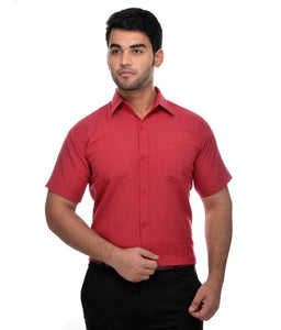 Red Cotton Solid Short Sleeve Formal Shirt